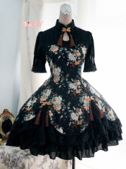 Strawberry Witch Peony Printed Qi Lolita OP Dress