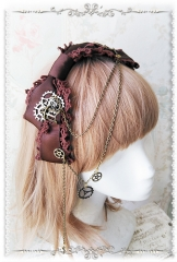 Infanta Steampunk Style Lolita Headbow with Gears Pendant Chains