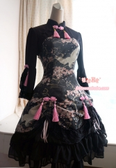 Strawberry Witch Sakura and Crane Printed Qi Lolita OP Dress