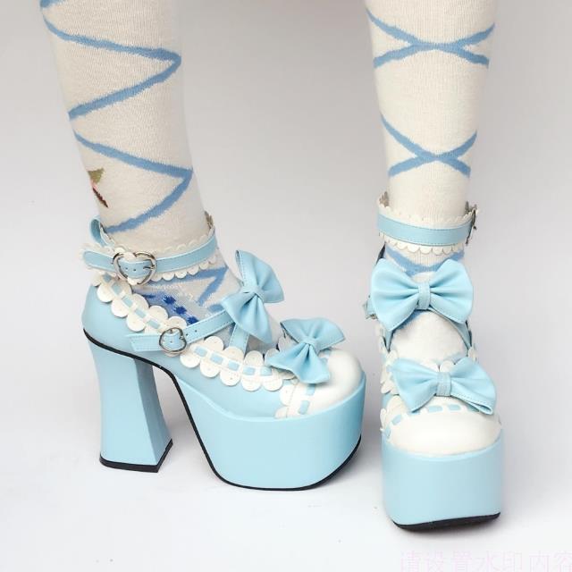 Sweet High Platform Sky Blue with White
