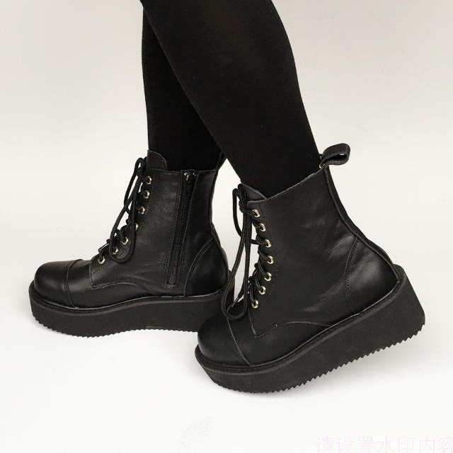 Black(real cow leather) & 5cm heel + 3cm platform
