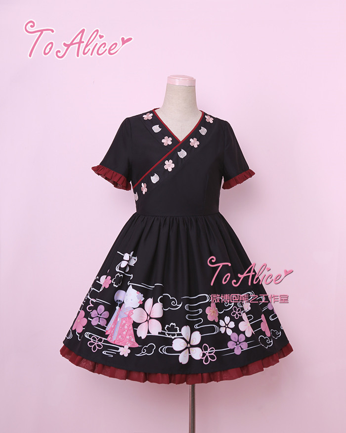 Tomy Bear Wa Lolita Kitten Cat Themed Wa Lolita Op Dress And