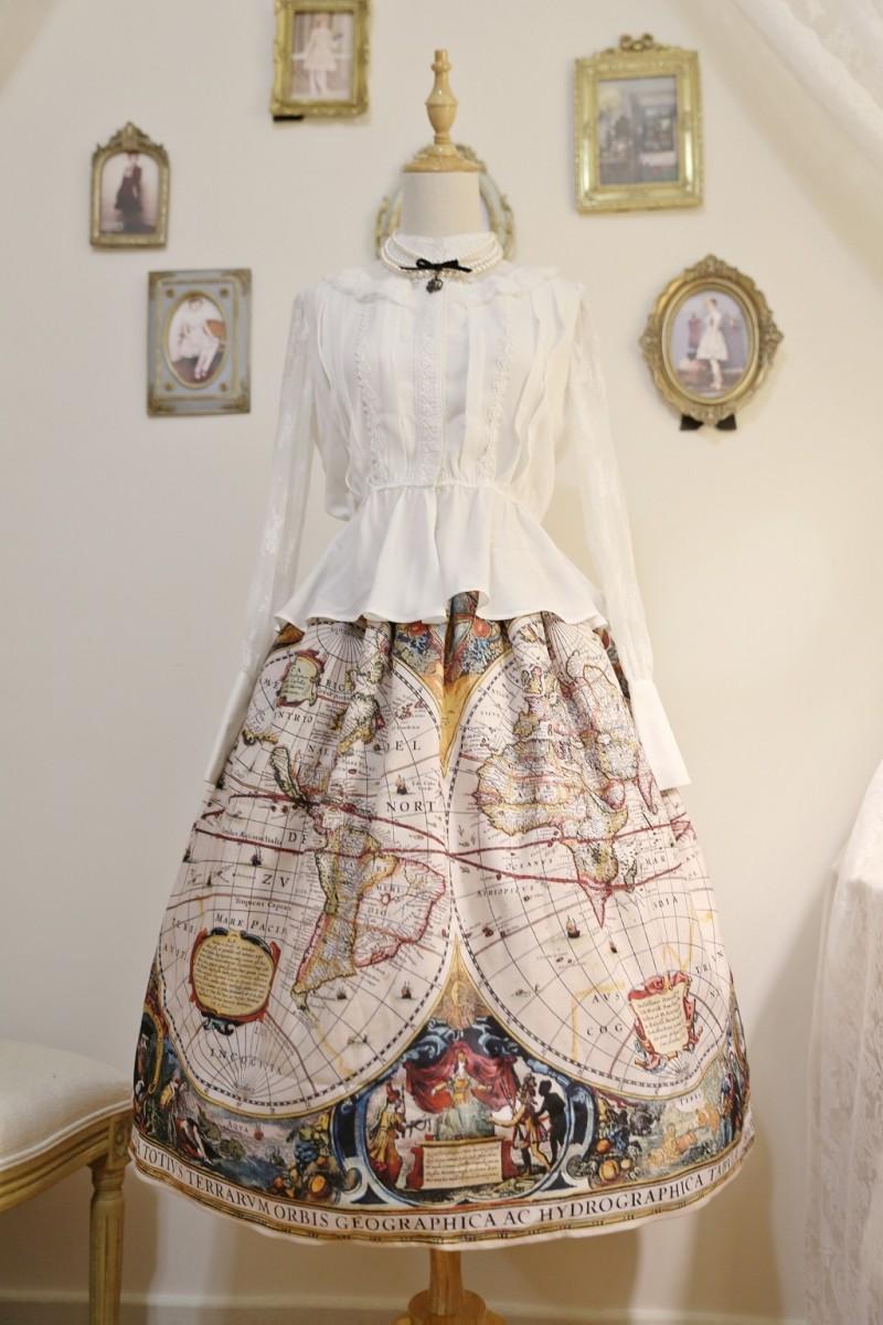Cyan Lolita The Ancient World Map Lolita Skirt