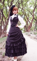 Surface Spell -Gothic Academy- Striped Lolita High Waist Skirt (Long Version)