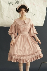 Pure Love Unicolor Chiffon Long Sleeves Peter Pan Collar Classic Lolita OP Dress