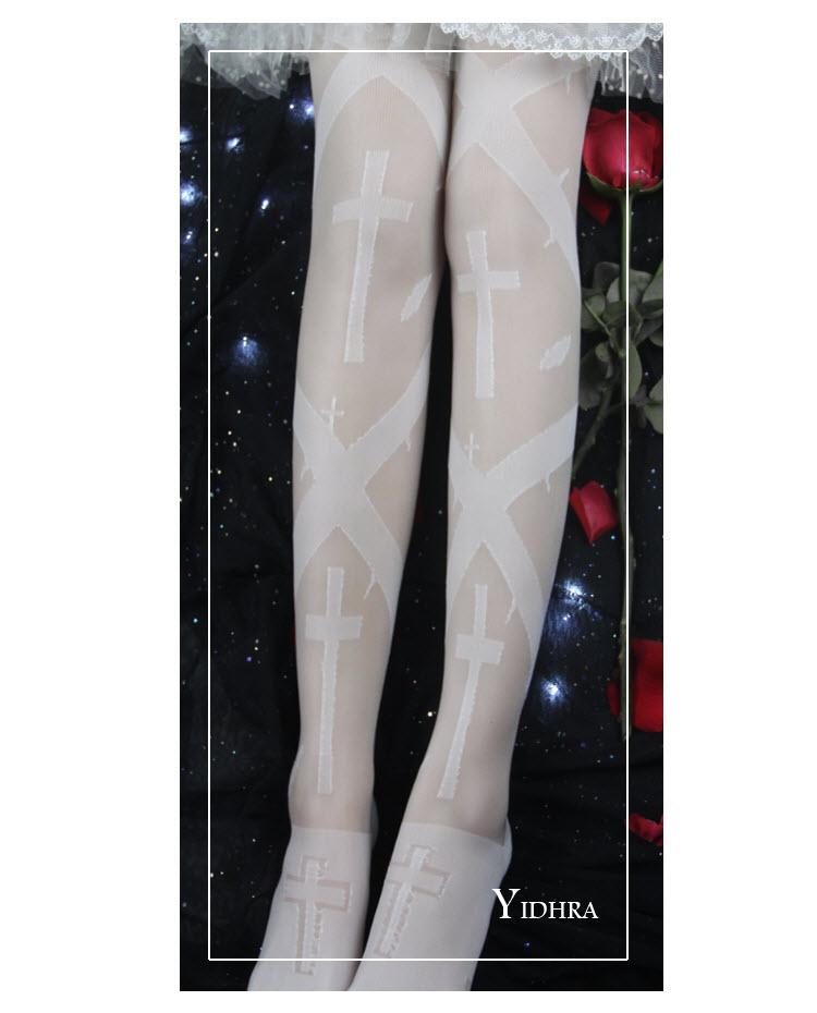 8d4b65f3b7285 Yidhra -Thorns Cross- Gothic Lolita Thigh High Socks